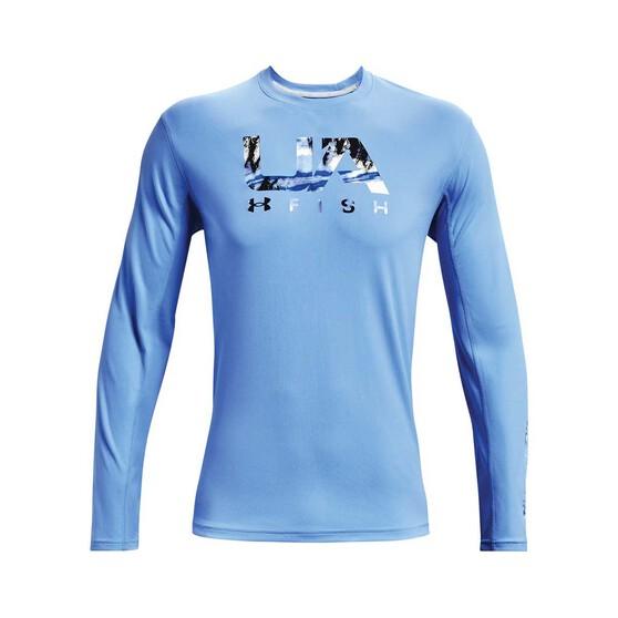 Under Armour Men's Isochill Shorebreak Camo Fill Long Sleeve Sublimated Shirt, Carolina Blue, bcf_hi-res