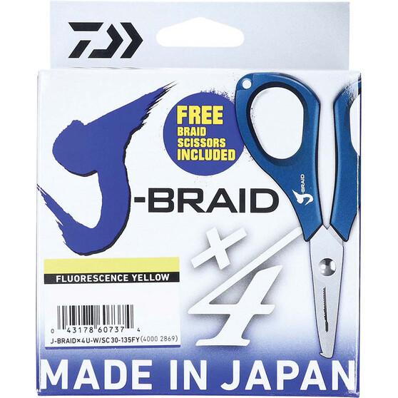 Daiwa J-Braid X4 Yellow Braid Line with Scissors 135m, Yellow, bcf_hi-res