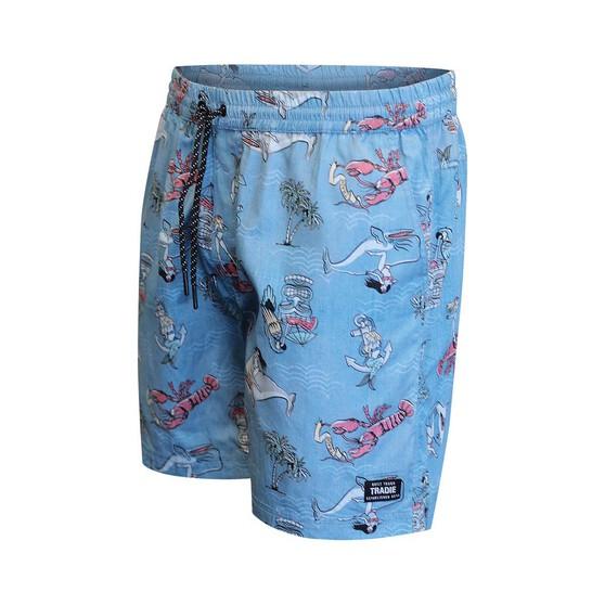 Tradie Men's Hawaiian Holiday Walk Shorts, Blue, bcf_hi-res