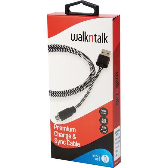 Walkntalk Micro USB Charge and Sync Cable Black / White, Black / White, bcf_hi-res