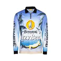 Bundaberg Rum Men's Lazy Bear Beach Sublimated Polo Blue S, Blue, bcf_hi-res