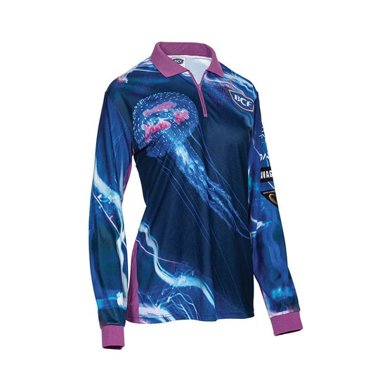 BCF Women's Jellyfish Sublimated Polo, Blue, bcf_hi-res