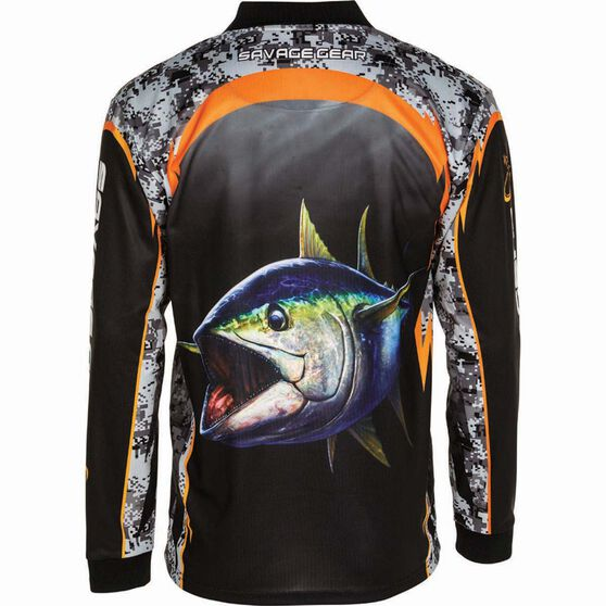 Savage Men's Tuna Sublimated Polo Black L, Black, bcf_hi-res