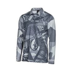 The Mad Hueys Men's Hammerhead Fishing Jersey Grey S, Grey, bcf_hi-res