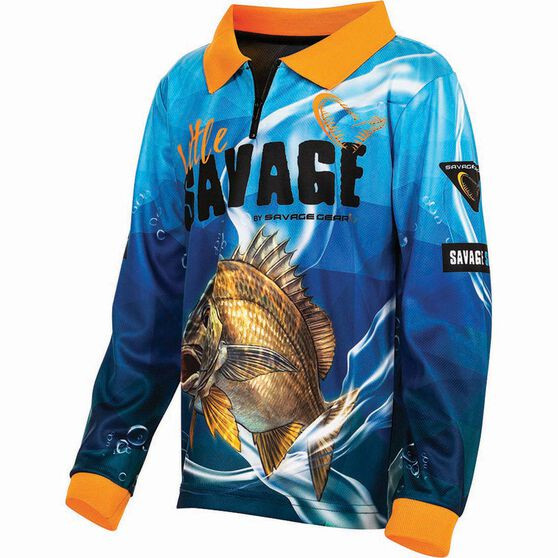 Savage Kids' Bream Sublimated Polo Blue 7, Blue, bcf_hi-res