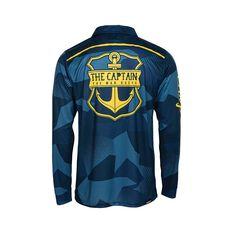 The Mad Hueys Men's Captain Ocean Camo Fishing Jersey Navy S, Navy, bcf_hi-res