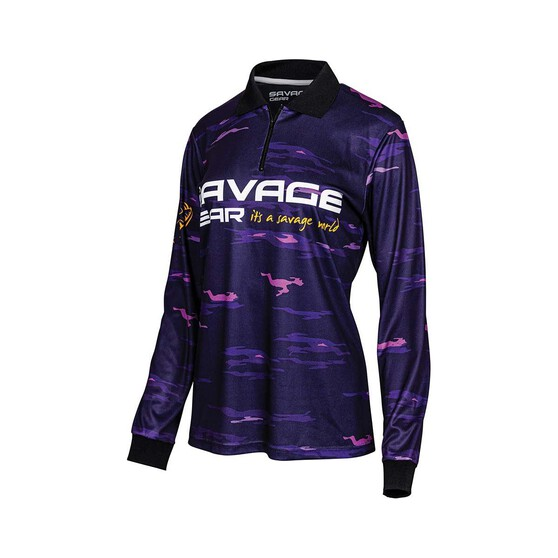 Savage Gear Womens Squad Camo Sublimated Polo, Purple, bcf_hi-res