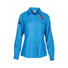 BCF Women's Long Sleeve Fishing Shirt Azure 8, Azure, bcf_hi-res