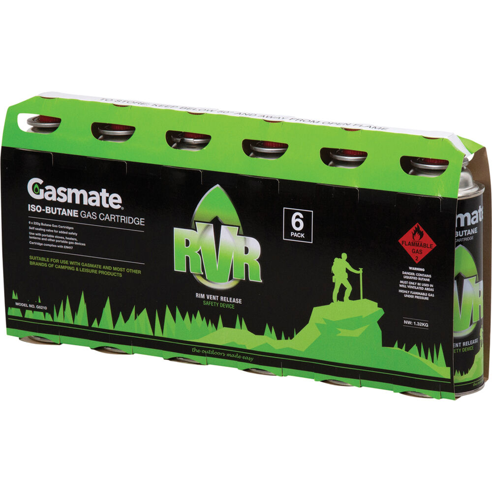 Gasmate Butane RVS Gas Canisters 220g 6 Pack