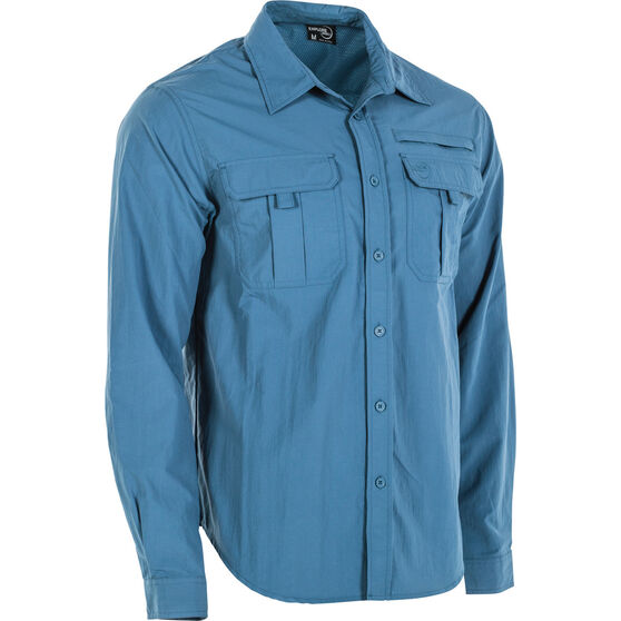 Explore 360 Men's Vented Long Sleeve Fishing Shirt Dark Blue S, Dark Blue, bcf_hi-res