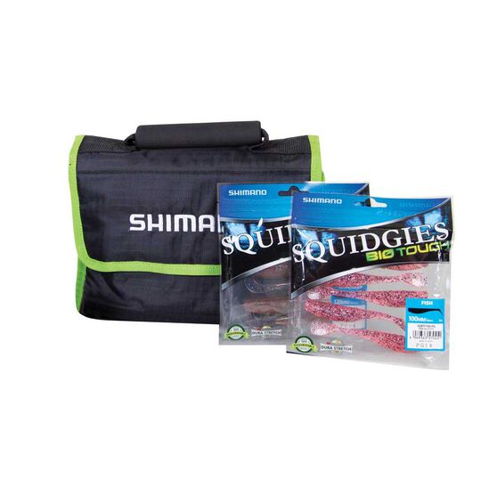 Shimano Tackle Wallet With 2 packets of Squigies Bio Soft Plastics, , bcf_hi-res