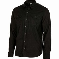 Men's Flannel Long Sleeve Shirt Black XS, Black, bcf_hi-res