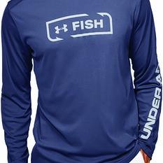 Under Armour Men's Sublimated Isochill Shore Break Long Sleeve T Shirt, Blue Ink, bcf_hi-res