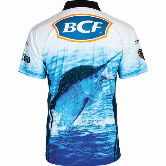 BCF Men's Marlin Short Sleeve Sublimated Polo Blue M, Blue, bcf_hi-res