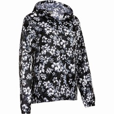 OUTRAK Printed Packaway Rain Jacket, Black Floral, bcf_hi-res