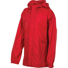 OUTRAK Kids' Packaway Rain Jacket Red 4, Red, bcf_hi-res
