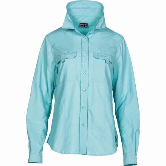 Outdoor Expedition Women's Vented Long Sleeve Shirt Aqua 12, Aqua, bcf_hi-res