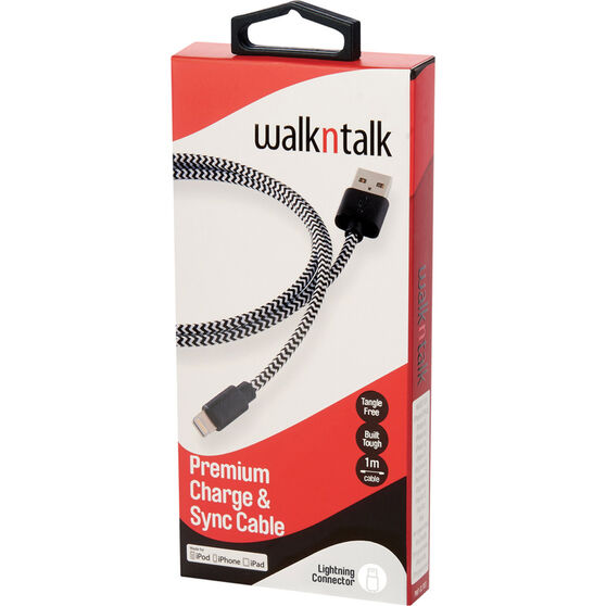 Walkntalk Lightning Charge and Sync Cable Black / White, Black / White, bcf_hi-res