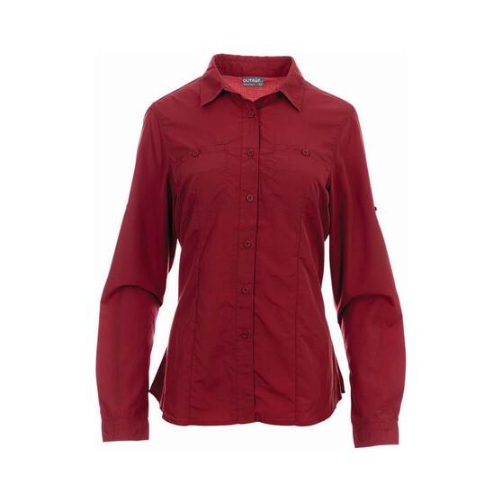OUTRAK Women's Long Sleeve Hiking Shirt, Claret, bcf_hi-res