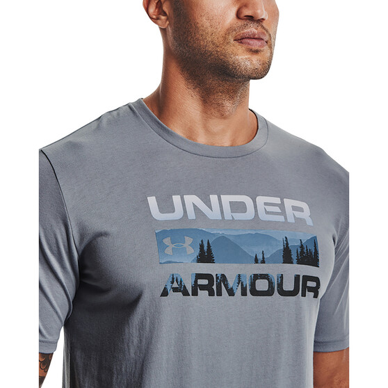 Under Armour Men's Stacked Logo Fill Short Sleeve Tee, Steel / Halo Grey, bcf_hi-res