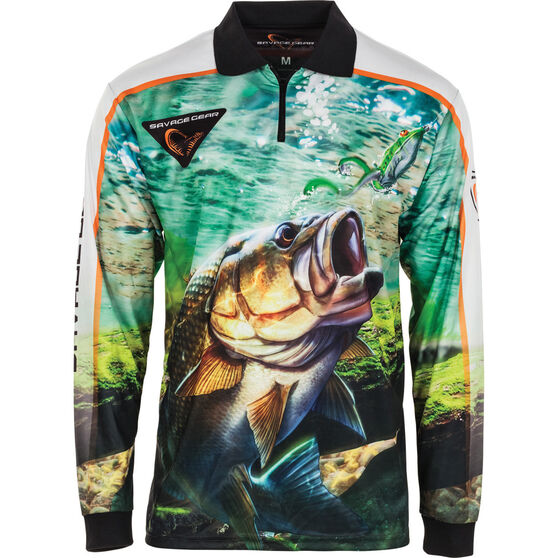 Savage Men's Aus Bass Sublimated Polo Green S, Green, bcf_hi-res