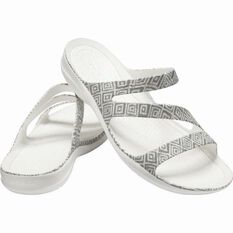 Crocs Women's Swiftwater Graphic Sandal Grey Diamond/White 6, , bcf_hi-res