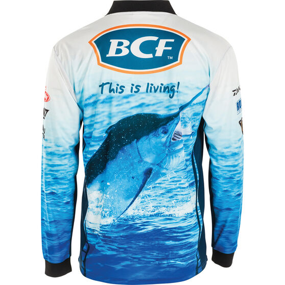 BCF Men's Marlin Sublimated Polo Blue L, Blue, bcf_hi-res