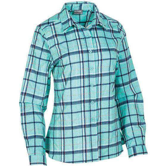 OUTRAK Women's Flannel Shirt, Aqua, bcf_hi-res