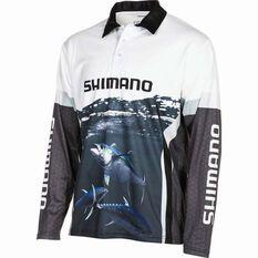 Shimano Men's Tuna Sublimated Polo Black / Navy / White S, Black / Navy / White, bcf_hi-res