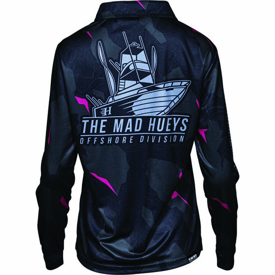 The Mad Hueys Women's Offshore Division Camo Fishing Jersey, Black, bcf_hi-res