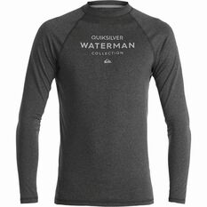 Quiksilver Men's Explorer Long Sleeve Rashie Charcoal Heather S Men's, Charcoal Heather, bcf_hi-res