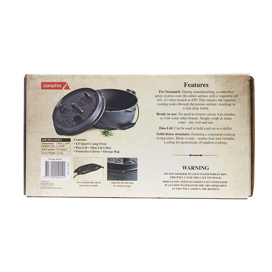 Pioneer Premium Camp Oven 4.5 Quart, , bcf_hi-res