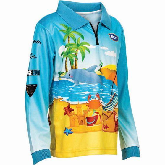 BCF Kids' Beachside Sublimated Polo, Blue, bcf_hi-res