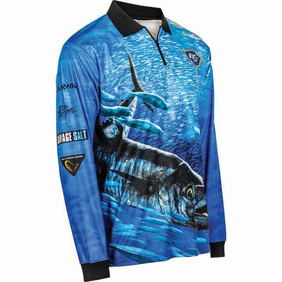 BCF Men's Spanish Mackerel Sublimated Polo Blue XL, Blue, bcf_hi-res