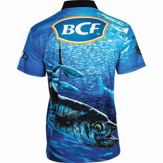 BCF Men's Spanish Mack Short Sleeve Sublimated Polo Blue L, Blue, bcf_hi-res