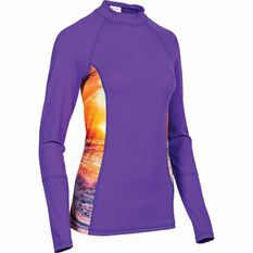 OUTRAK Women's Long Sleeve Rashie Purple 8, Purple, bcf_hi-res