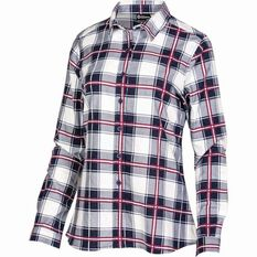 Women's Flannel Long Sleeve Shirt Navy 8, Navy, bcf_hi-res
