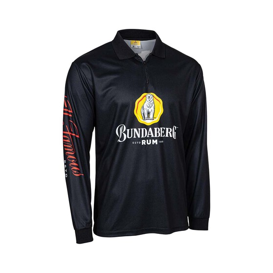 Bundaberg Rum Men's Sublimated Polo, Black, bcf_hi-res