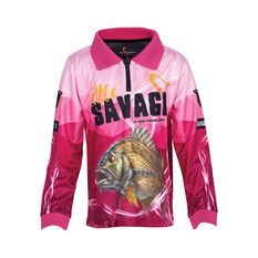 Little Savage Kids'  Bream Sublimated Polo Pink 4, Pink, bcf_hi-res