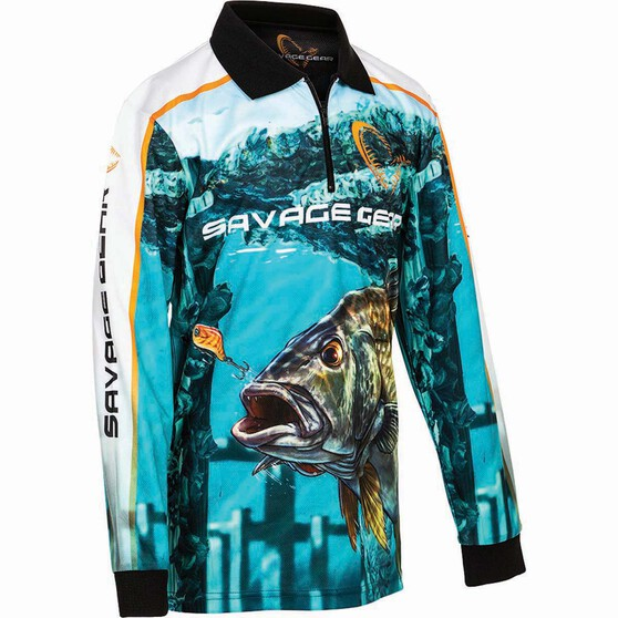 Savage Kids' Bream Sublimated Polo Green 12, Green, bcf_hi-res