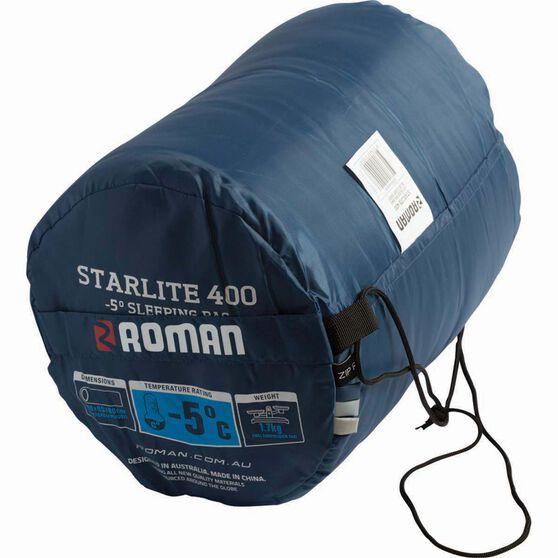 Roman Starlite 400 Hooded Sleeping Bag Blue, , bcf_hi-res