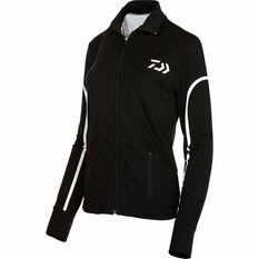 Daiwa Women's Stretch Zip Sublimated Polo Black 10, Black, bcf_hi-res