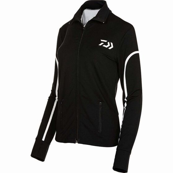 Daiwa Women's Stretch Zip Sublimated Polo Black 12, Black, bcf_hi-res
