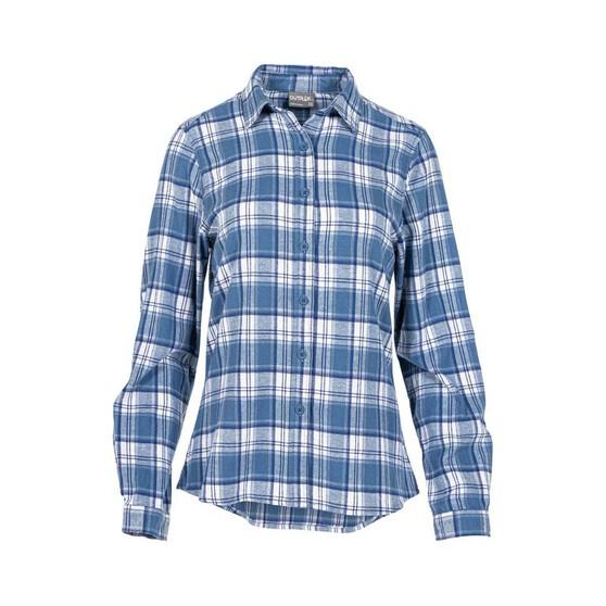 OUTRAK Women's Yarn Dye Flannel Shirt Purple / Blue 14, , bcf_hi-res