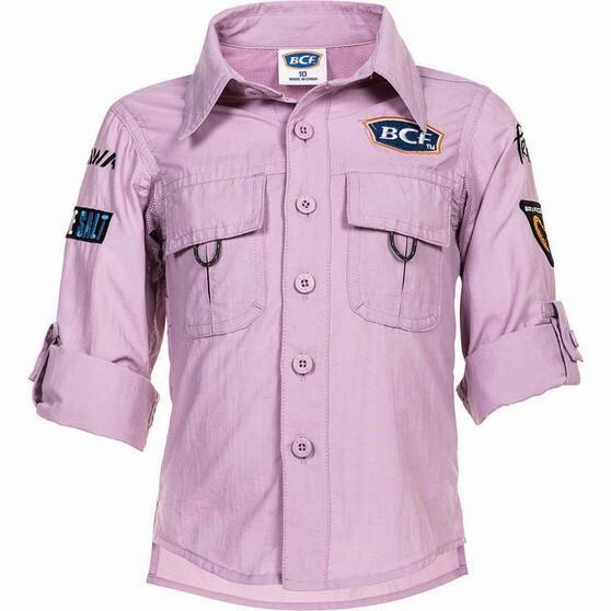 BCF Kids' Long Sleeve Fishing Shirt, Orchid, bcf_hi-res