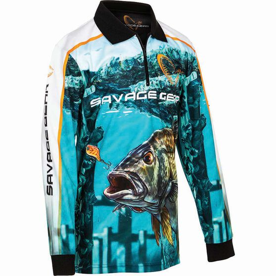 Savage Kids' Bream Sublimated Polo Green 14, Green, bcf_hi-res