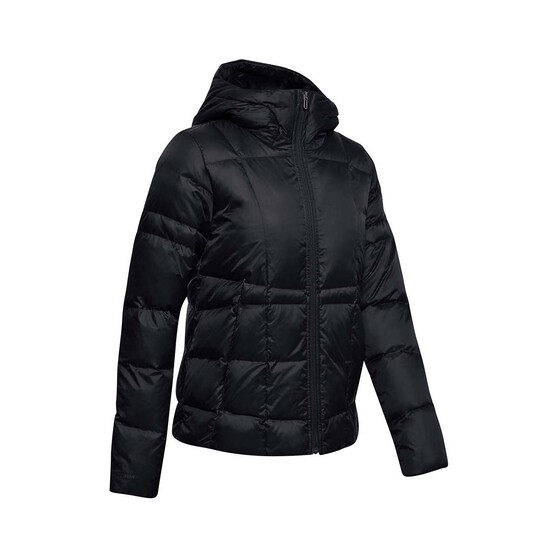 Under Armour Women's Hooded Down Jacket, Black / Jet Gray, bcf_hi-res