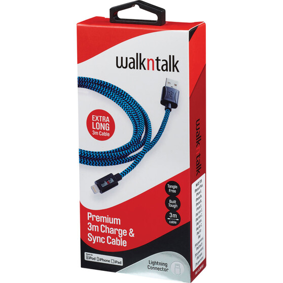 Walkntalk Lightning Charge and Sync Cable 3m, , bcf_hi-res