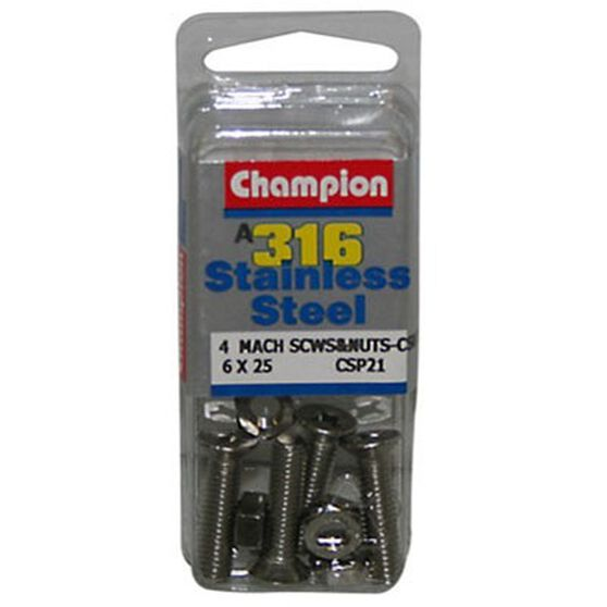 Champion Coutersunk Mach Screws and Nuts - 6 X 25mm, , bcf_hi-res