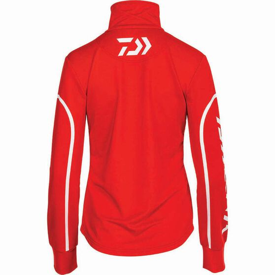 Daiwa Women's Stretch Zip Sublimated Polo Coral 18, Coral, bcf_hi-res